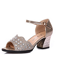 Women's Dance Shoes Sneakers Sparkling Glitter Chunky Heel Black/Gold/Silver