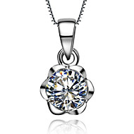 Rose Pendant 0.6CT Sterling Silver Engagement Gift Pendant for Women SONA Simulate Diamond Mounting Free Necklace 45cm