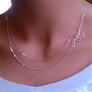 Beautiful Leaf Double Layers Necklace(Silver)(1Pc)