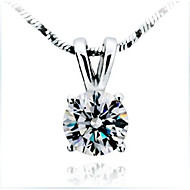 1CT Excellent Round Solid Silver Pendant Slide Style SONA Simulate Diamond Pendant Jewelry Female 925 Necklace Free Gift