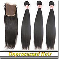 "4Pcs/Lot 8""-30""Virgin Hair Bundles With Lace Closure Russian Hair"