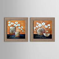 현대 추상 꽃 손 그림 오일 액자 뻗어 천연 리넨을 그린 - 2 세트를