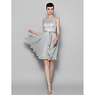 Lanting Knee-length Chiffon / Lace Bridesmaid Dress - Silver Plus Sizes / Petite A-line Bateau