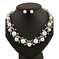 XIXI  Women Latest Fashion Alloy Rhinestone Imitation Pearl Necklace/Earrings Sets