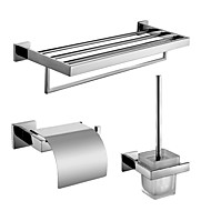Polish Stainless Steel Bath Hardware Set with Towel Shelf with Bar Toilet Paper Holder with lid and Toilet Brush Holder