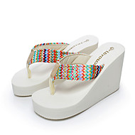 weaving&knitting Summer fashion flip flops antiskid high heel flip flops muffin beach shoes with thick bottom