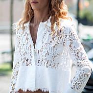 Vrouwen Eenvoudig Zomer Overhemd,Casual/Dagelijks Effen Overhemdkraag Lange mouw Wit Doorschijnend