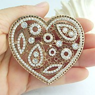 Wedding Accessories Gold-tone Clear Rhinestone Crystal Love Heart Brooch