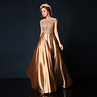 Formal Evening Dress A-line Jewel Floor-length Lace / Charmeuse with Bow(s) / Lace / Sash / Ribbon