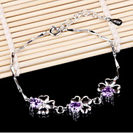 Women's lucky clover Silver Chain With Rhinestone Bracelet