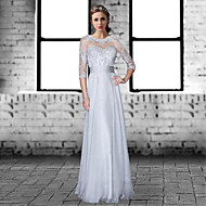 Formal Evening Dress A-line Jewel Floor-length Chiffon / Lace with Lace