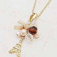 Diamond bow ribbon Eiffel Tower necklace