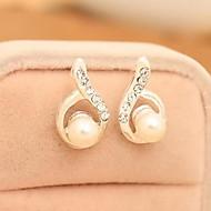 Diamond Droplets Arc Pearl Stud Earring