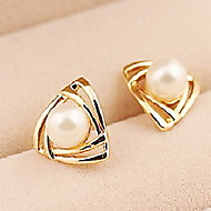 Korean Fashion Triangular Gold Earrings