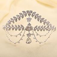 Bride's Leaves Shape Rhinestone Forehead Wedding Headdress Crown 1 PC