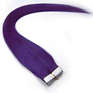 bånd i menneskehår forlængelse #lila farve 20pcs remy brazilian jomfruelige lige hud skud hår extensions