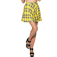 Women's Slim Mini Skirts Green Pleated Beach Skirt Yellow Check Plaid Print Casual Skirts Spandex Stretchy