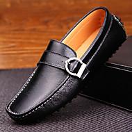 גברים-נעליים ללא שרוכים-עור-נוחות--יומיומי-עקב שטוח