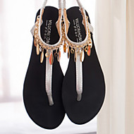 Women's Shoes Faux Leather Flat Heel Round Toe Sandals Casual Black/Silver