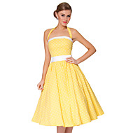 Cocktail Party Dress A-line Spaghetti Straps Knee-length Cotton with Ruching