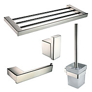 Polish Stainless Steel Bathroom Accessories Set with Towel Shelf Toilet Paper Holder Robe Hook and Toilet Brush Holder