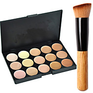 New 15Colors Salon Contour Face Cream Makeup Concealer Palette+Blush Brush