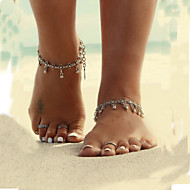 Simple Show Vintage Metal Droplets Tassel Flower Anklet Jewelry