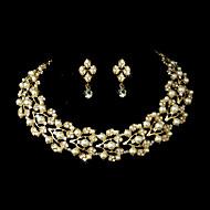 Conjunto de jóias Imitação de Pérola/Strass Dourado/Liga Mulheres