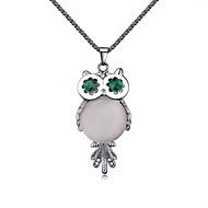 Women's European Fashion Enamel Style Big Eyes Owl Alloy Necklace With Opal