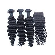 3 Bundles With 3.5x4 Free Part Closure Deep Wave Brazilian Unprocessed Human Virgin Hair Natural Color  Weft Hair Weaves