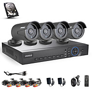 ANNKE® 4CH AHD 720P DVR/HVR/NVR+4 720P 1.0MP AHD IP Camera 100ft Night Vision Weatherproof Security System