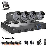 annke 4ch AHD 720p DVR / HVR / NVR + 4 720p 1.0mp 100 ft AHD IP kamera noční vidění povětrnostním vlivům bezpečnostní systém