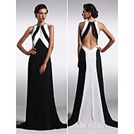 저녁 정장파티 드레스 - 블랙 시스/컬럼 스위프/브러쉬 트레인 보석 사틴 쉬프톤