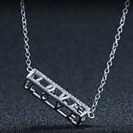 Couples' Silver Necklace Letter Pendant With Cubic Zirconia