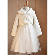 Kids Wraps Boleros/Capelets Long Sleeve Faux Fur/Tulle White