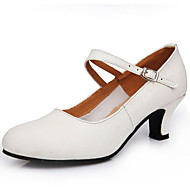 Women's Dance Shoes Heels first layer leather Cuban Heel Black/Red/White