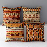 uppsättning av 4 africa stil mönstrad bomull / linne dekorativa örngott