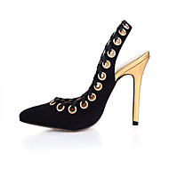 Feminino-Sandálias-Chanel-Salto Agulha-Preto-Veludo-Casamento Social Festas & Noite