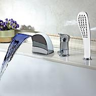 Bathtub Faucet - Contemporary - LED / Waterfall / Sidespray - Brass (Chrome)