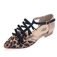 Women's Shoes Flat Heel T-Strap Flats Dress Black/Animal Print