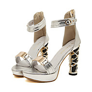 Women's Shoes Synthetic Chunky Heel Heels/Peep Toe/Platform Sandals Party & Evening Silver/Gold