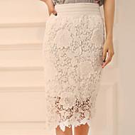 Women's Casual Inelastic Thin Midi Skirts (Lace)
