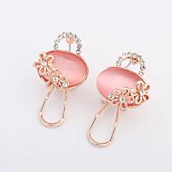 Women's European Style Fashion Exquisite Small Lock Opal Rhinestone Alloy Stud Earrings