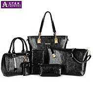 AIKEWEILI®Women's Handbag Fashionn PU Leather Totes Boston Bag Shoulder Bag Purse Wallet Key Bag Six-piece Lady's Bag