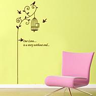 סגנון מדבקות קיר מדבקות קיר טיסת קיר PVC מדבקות ציפור וכלוב ציפורים