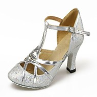 Non Customizable Women's Dance Shoes Latin/Modern Leatherette/Paillette Cuban Heel Silver/Gold