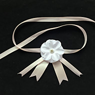 Garter Stretch Satin Flower White