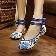 Women's Shoes Fabric Flat Heel Comfort Flats Casual Blue/Red