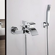 Modern Waterfall Widerspread Faucet With Hand Shower In-Wall Bath Taps