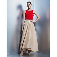 회사 파티 드레스 A-라인 스쿱 발목 길이 태피터 와